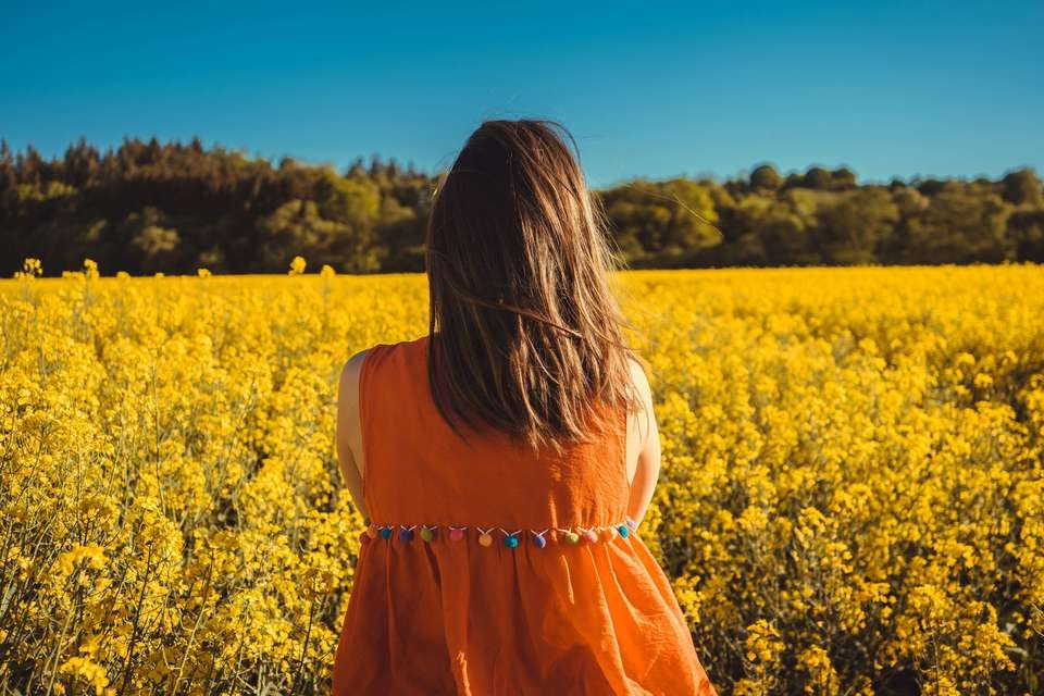 気力がない女性が花畑を見つめる