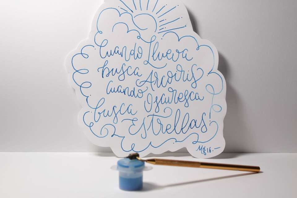 青い手作り誕生日カード
