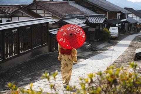 Medium woman wearing a kimono holding umbrella 2187661