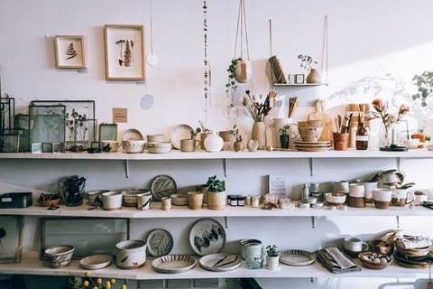 Medium assorted ceramics on wooden shelves 3626588