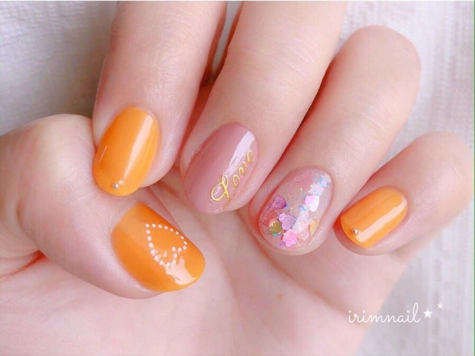 オレンジカラー夏ネイル