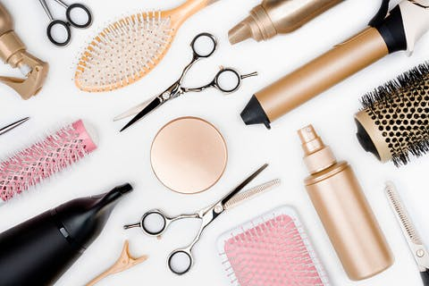 Medium hairdressing tools and various hairbrushes on white background top picture id849146782